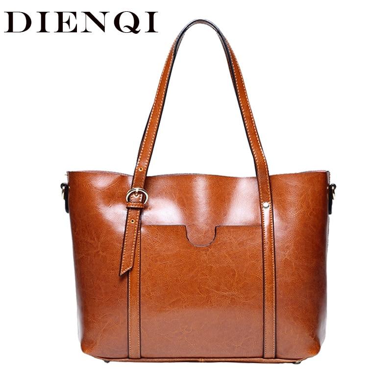 DIENQI Oil wax patent genuine leather bags female vintage big tote ladies shoulder bags brown women