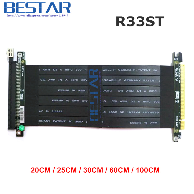 Riser PCI Express PCI-E 16x to PCIE 3.0 x16 Riser Graphics card Cable 20cm - 1m For GTX1080TI firepro w7100,quadro K1200 VEGA64