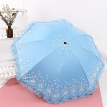 Folding umbrella Mini seaweed lace UV protection Sun Three-folding Umbrella for women