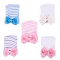 Шапочка с кружевным бантом и цветами, хлопковая вязаная шапка для новорожденных, мягкий вязаный берет из чистого хлопка с бантом для девоче...