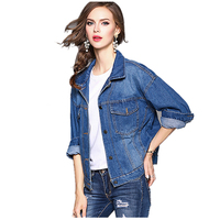 TFGS Women S New Fashion Spring Autumn Jeans Jacket Female Loose Letter EmbroideRed Patchwork Denim Jacket