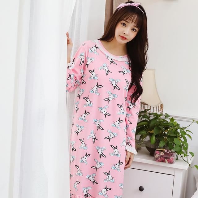 De Manga larga de primavera y otoño de las mujeres de dibujos animados flojo de gran tamaño puede ser usado en el largo de la falda