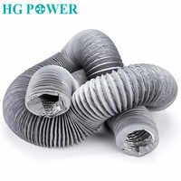 5m 4inch Flexible Aluminium Inline Duct Fan Ducting Hose with PVC Round Ducting for Extractor Fan Air Conditioner Ventilation