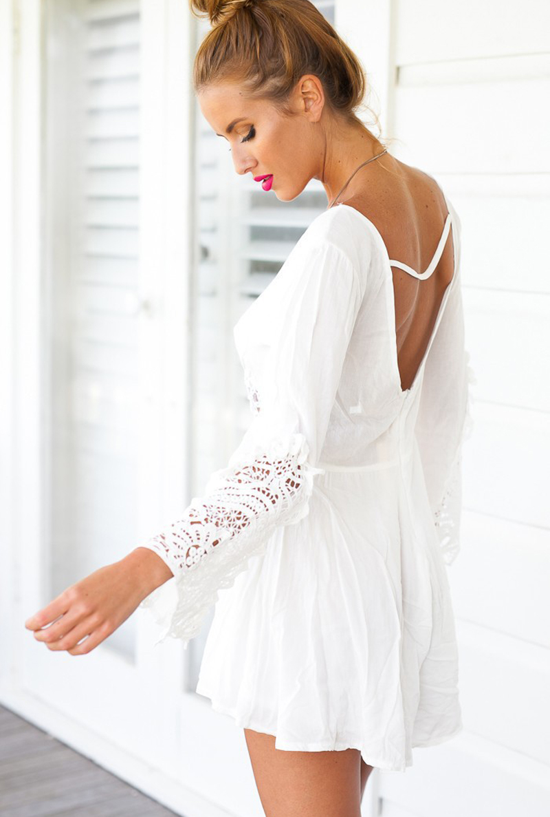 f1b31bb44ca MUQGEW New Women Long Sleeve White Lace V Neck Rompers womens jumpsuits  Rompers Short Pants Calcetines mujer cheap-in Rompers from Women s Clothing  on ...