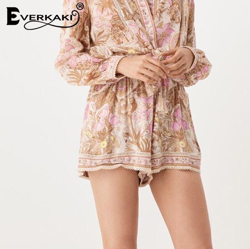 Everkaki Bohemian Floral Tiger Print Shorts Women Bottoms Elastic Adjustable Tassel Sashes Boho Shorts Female 2019 Summer Autumn in Shorts from Women 39 s Clothing