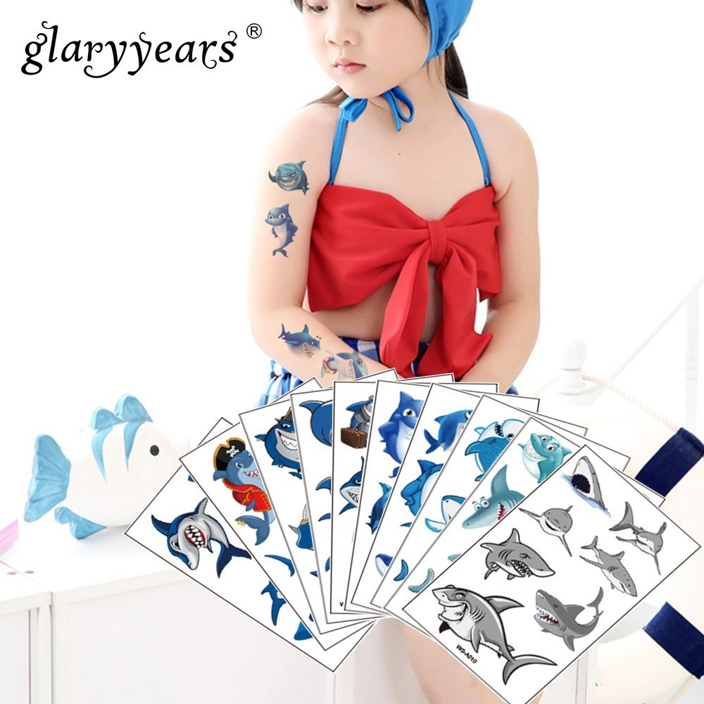 Glaryyears 1 Sheet Shark Makeup Temporary Tattoo Sticker Blue Fake Tatoo Flash Tatto Waterproof Small Body Art Men Woman Child