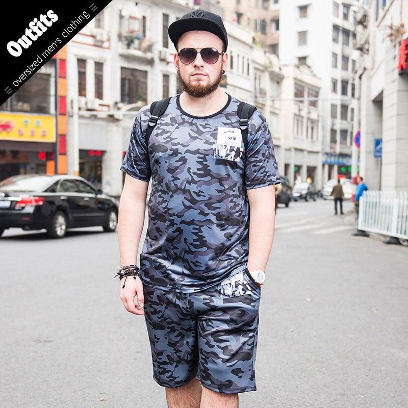Более Размеры D 6xl Для мужчин камуфляж печати Человек Костюмы модные короткий рукав футболки с Пляжные шорты Марка Плюс Размеры костюм Для м... ...