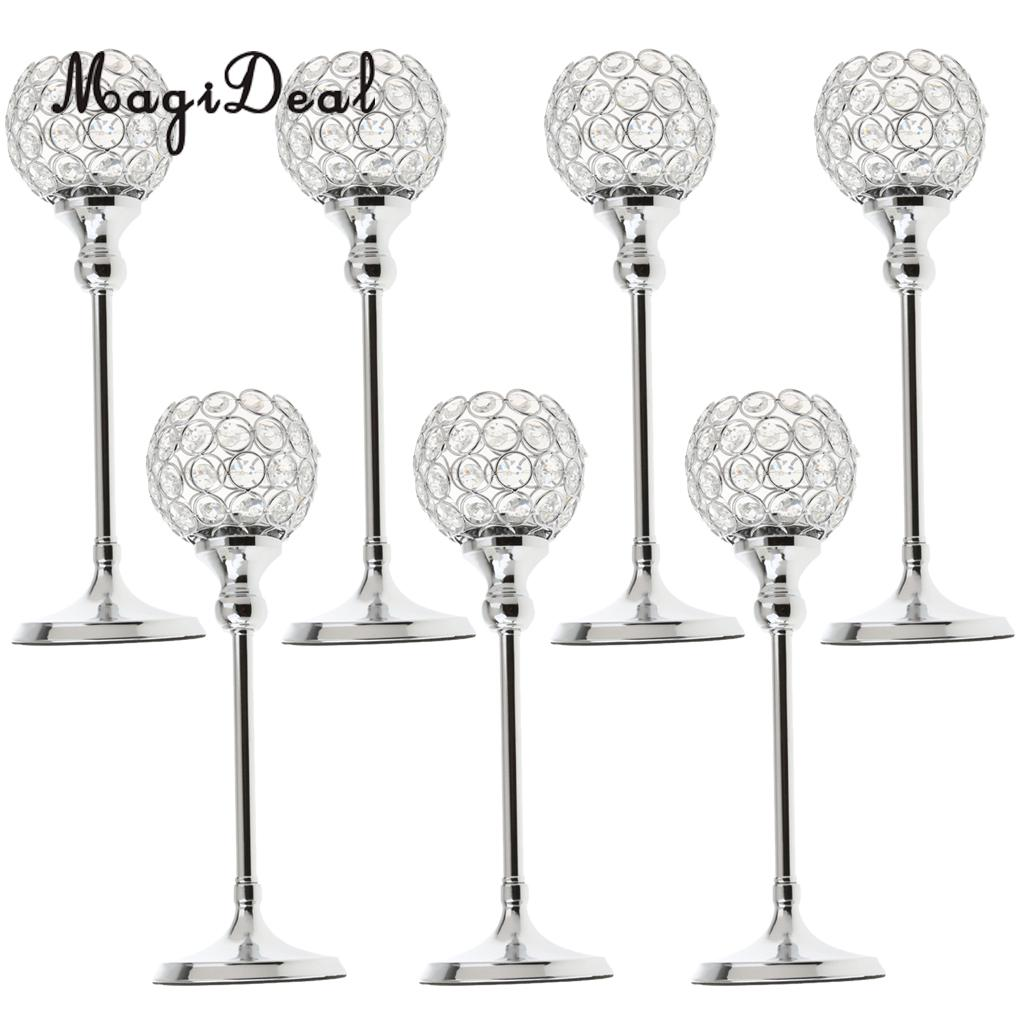 7pcs Silver Crystal Candle Holder For Wedding Anniversary