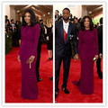 MGC08 Hot Sell Celebrity Dresses 2015 Met Gala Gabrielle Union Purple Long Sleeve Mermaid High Collar Evening Party Dresses