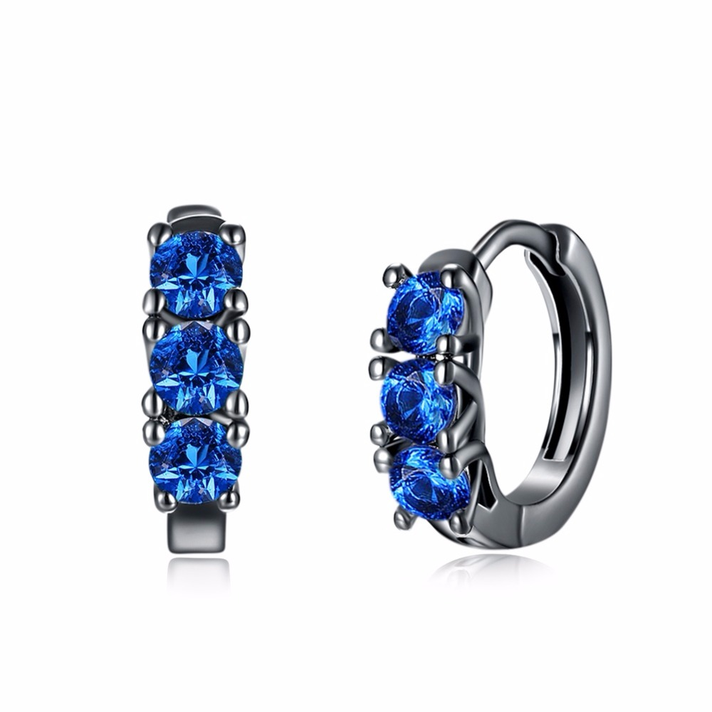 2017 new fashion Jewelry Brilliant Blue/Purple Zirconia casual round hoop earrings Black color earing brincos de Ouro