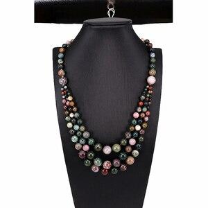 Image 1 - 1 pc Şans Jewel Şeker renk Doğal Agates Boncuk Vintage Kolye Uzun Hattı Katmanlama Kazak Ceket Takı Moda Dainty Mücevher hediye