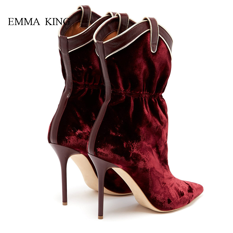 Fashion Women Velvet Ankle Boots Red wine Pointed Toe High Heels Botines Mujer Shoes Sexy Stilettos Springr Autumn Ladies ShoesFashion Women Velvet Ankle Boots Red wine Pointed Toe High Heels Botines Mujer Shoes Sexy Stilettos Springr Autumn Ladies Shoes