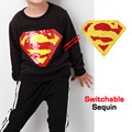 Autumn Spring super hero magic switchable sequin boys sweat shirt tee kids new fashion t shirt children tops clothes 80-135cm