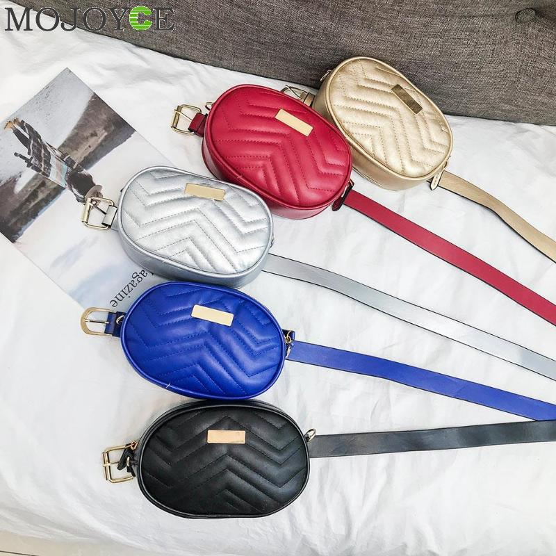 Luxury PU Leather Women Waist Bags New Fashion Oval Shape Waist Packs Brand Women Shoulder Bags Trendy Design Chain Belt Bags