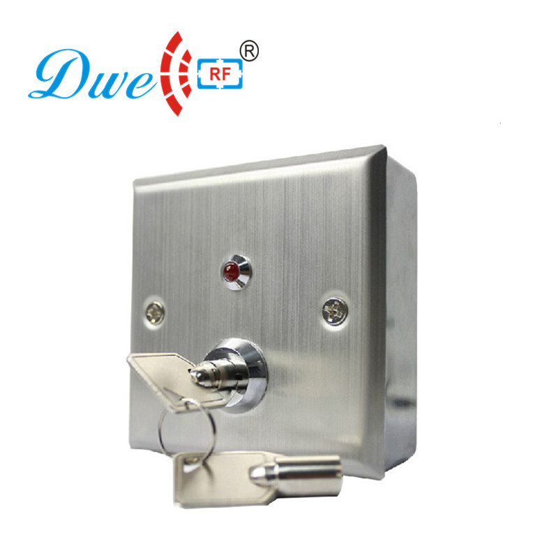 DWE CC RF Access control kits stainless steel key switch NO/NC/COM exit button with LED indicate and 86 back housing dwe cc rf access control kits aluminum alloy silver door open push release switch with key