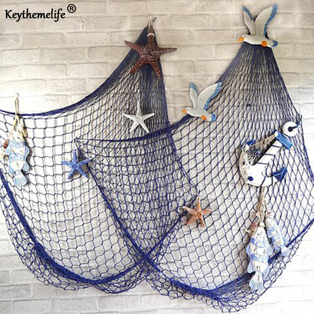 keythemelife mediterranean sea style white blue decor net shell