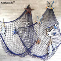 Keythemelife Mittelmeer stil Weiß Blau Decor Net Shell Ornamente Wandbehänge Decor Handwerk Szene Party Decor 1x2M