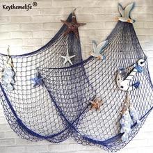 Keythemelife Mittelmeer stil Weiß Blau Decor Net Shell Ornamente Wandbehänge Decor Handwerk Szene Party Decor 1x2M