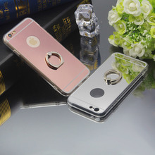 Luxury Mirror Phone Case Soft TPU Back Cover for Apple iPhone 4 4S 5 5S SE 6 6S 7 7 Plus Ring Holder Stand Phone Case Funda
