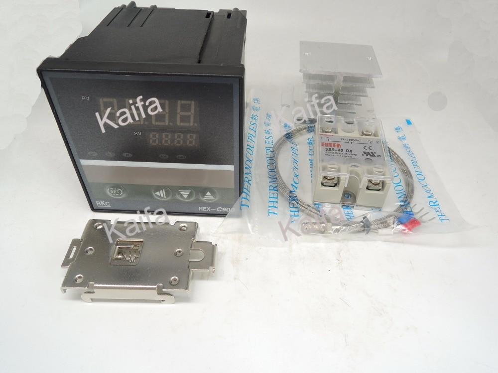 ФОТО DigitalPIDTemperature Controller Thermostat REX-C900  + 1M K Thermocouple Probe+SSR40DA+ Radiator+Protective Covers + clip clamp