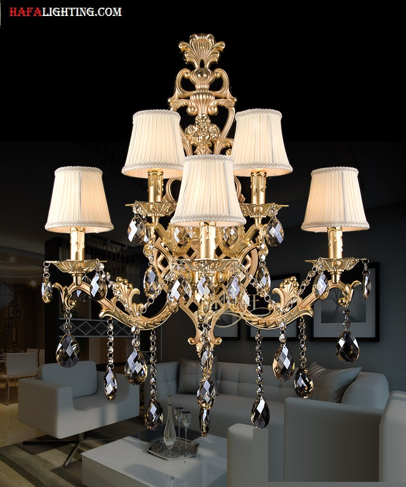 Living Room Crystal Wall Sconces : Modern crystal wall light fashion large living room Luxury large wall light Golden bedroom wall ...