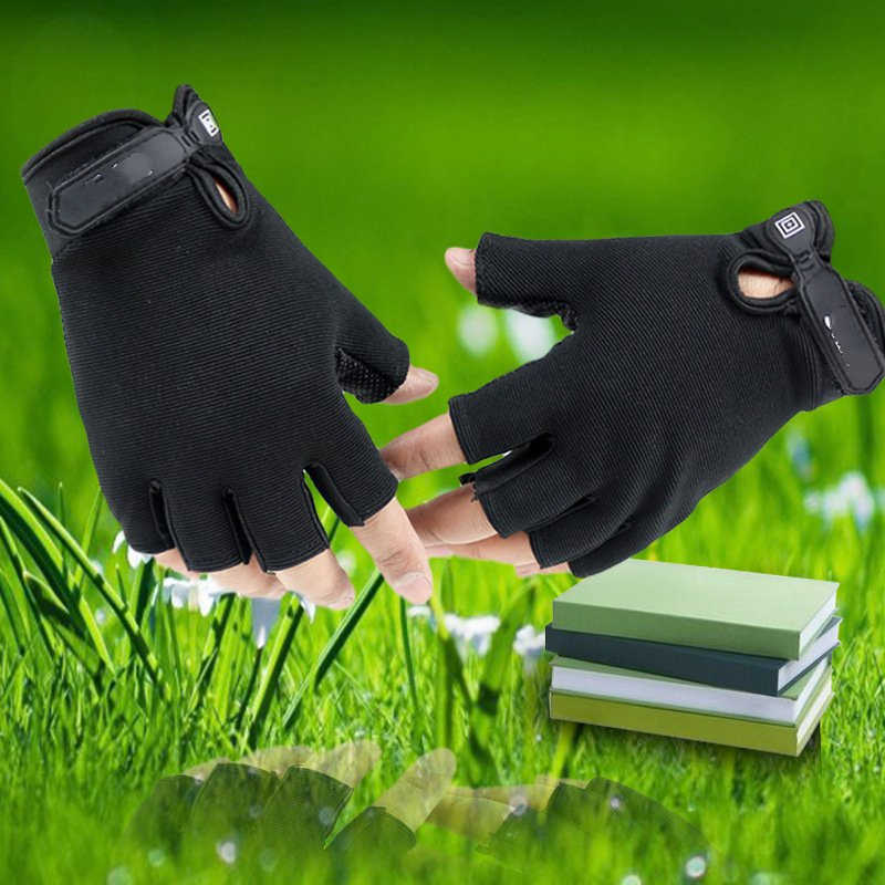 Half-finger gloves for men and women in autumn and winter sports and fitness sunscreen slip gloves riding the latest fashion fitness gloves thin spring summer outdoor sports fitness riding army fans fighting semi finger gloves