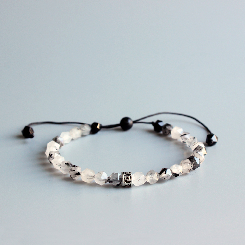 6mm Faced Natural Chinese Ink Stone Mala Beads Bracelet Tibetan buddhist Six True Word Om Mani Padme Hum Charm Bracelet Handmade