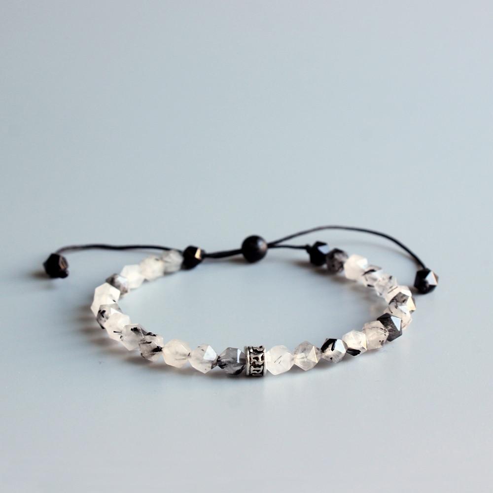 6mm Konfrontiert Natürlichen Chinesischen Tinte Stein Mala Perlen Armband Tibetischen buddhistischen Sechs Wahre Wort Om Mani Padme Hum Charme Armband handgemachte