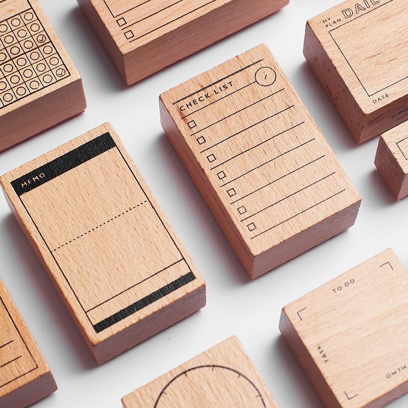 1set Retro Check List Number Time Planner Stamp DIY Wooden Rubber Stamps For Scrapbooking Stationery Scrapbooking Standard Stamp