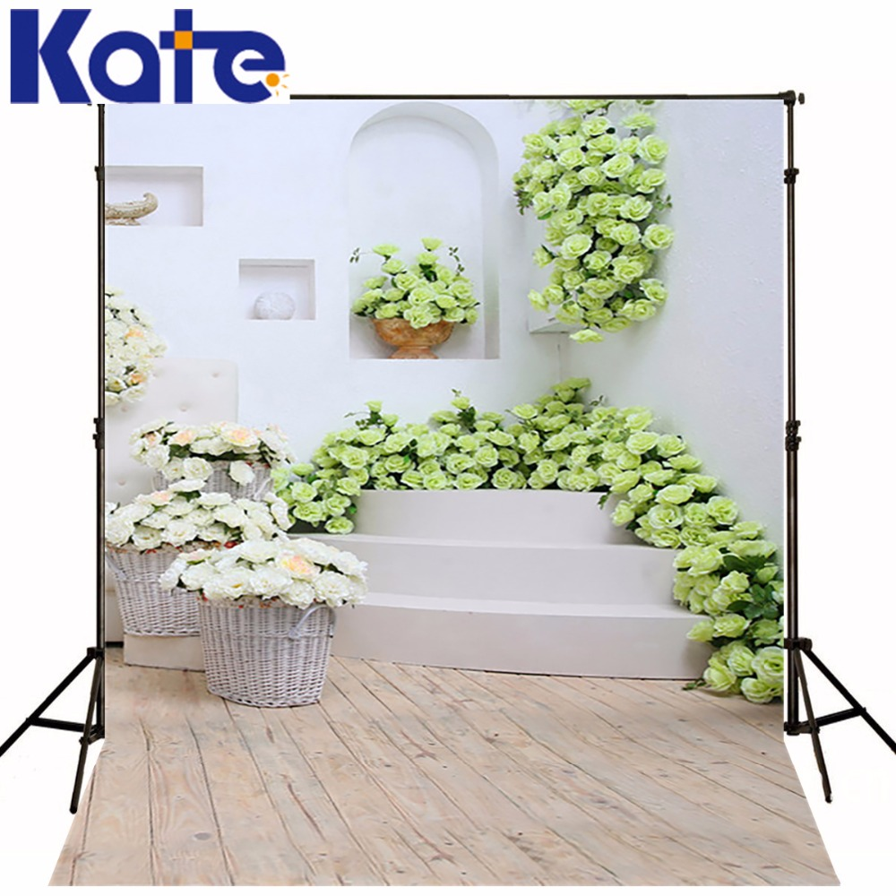KATE Vintage Indoor Wedding Backdrop Wood Floor White Stairs  Backdrops Background For Photo Green Flowers Valentine Backdrops megashopping green bowknot white dot favor wedding valentine gift boxes sold individually