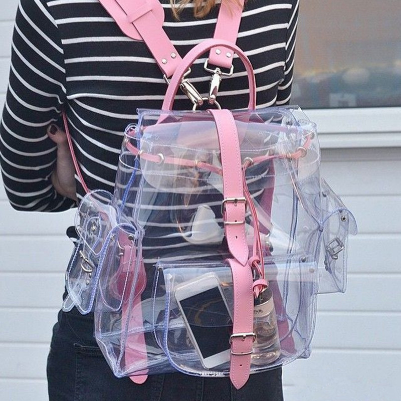2019 New 26*13*30cm Women Transparent PVC Backpacks Buckles String Students Girls Fashion Pink & Light Green School Bags
