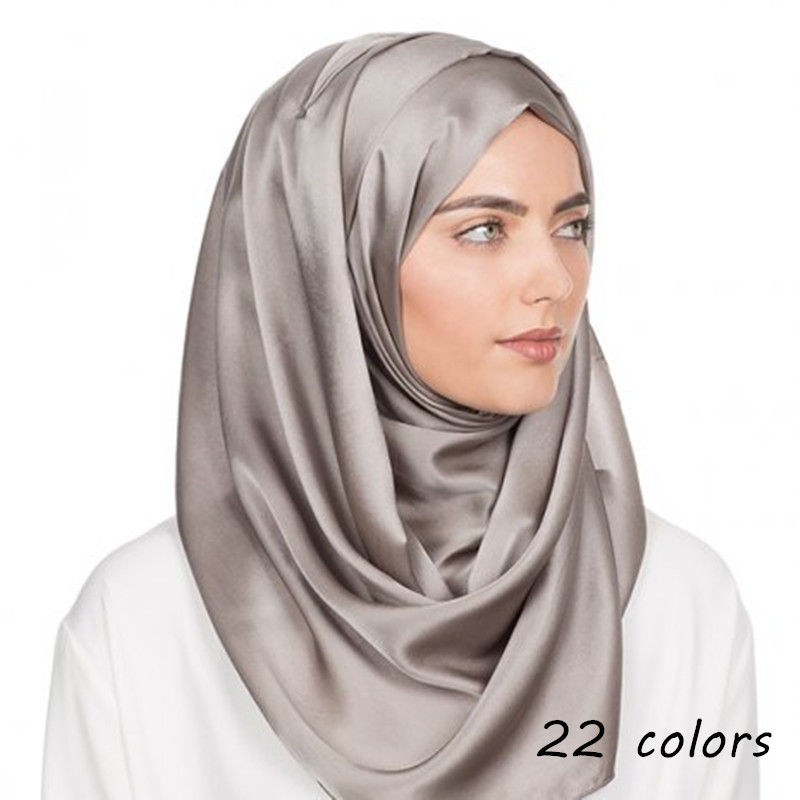 2019 new silk scarf plain maxi hijab scarfs pure elegant muslim hijabs woman scarves and shawls