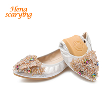HENSCARYING 2018 Women Crystal Butterfly Pointed Toe Ballet Flats  Rhinestone Flat Plus Size 33-45 d548790977ff
