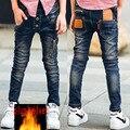 Ropa de los niños de los pantalones vaqueros del Muchacho 2017 de otoño/invierno de Corea pantalones de los niños, además de terciopelo grueso pantalones más el tamaño venta caliente