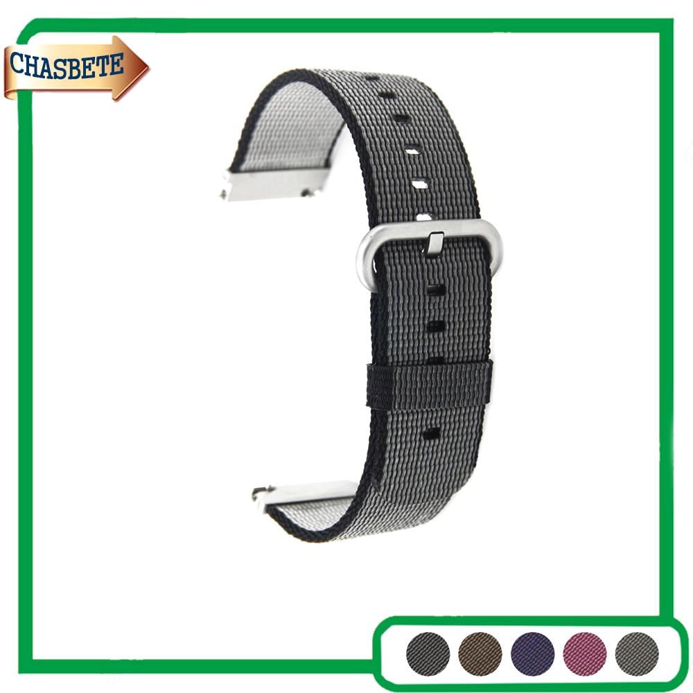 Nylon Watch Band for Samsung Galaxy Gear 2 R380 Neo R381 Live R382 22mm Belt Wrist Strap Loop Bracelet Black Brown Grey Purple cowhide genuine leather watch band 22mm for samsung gear 2 r380 r381 r382 quick release strap wrist belt bracelet