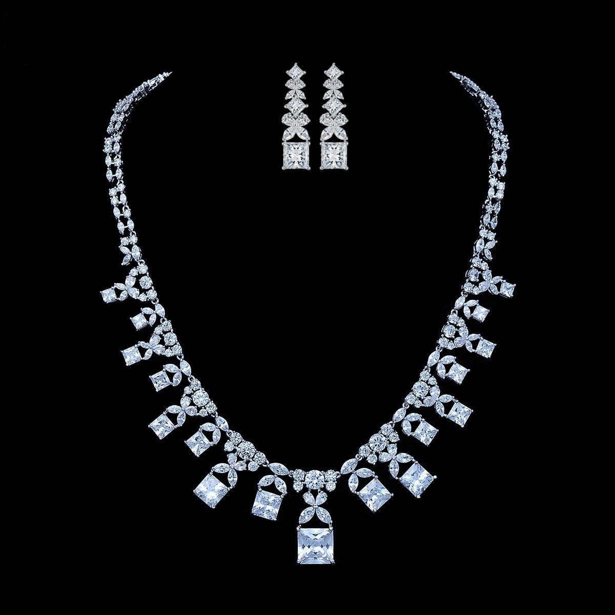 Ensembles de bijoux de mariée en cristal AAA Zircon classique collier pendentif boucles d'oreilles pour femmes dames