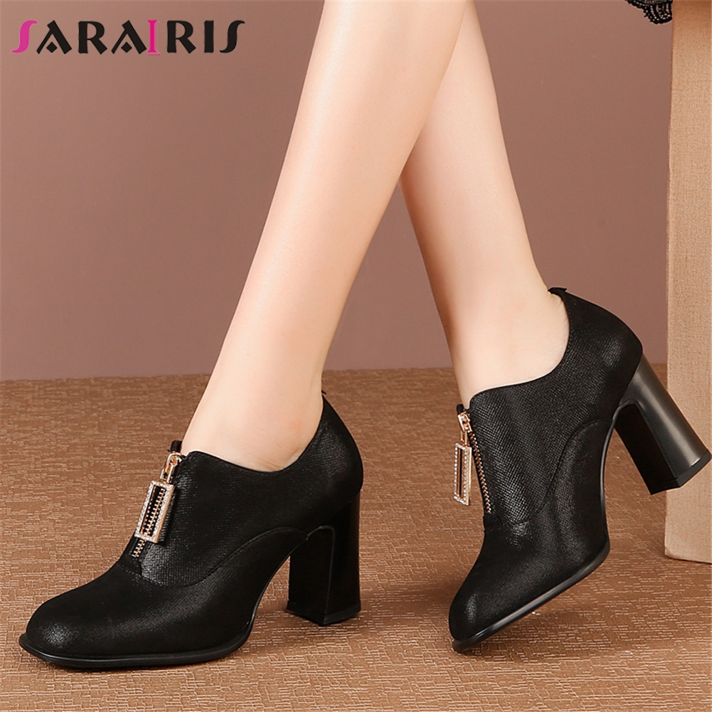 SARAIRIS New Big Size 33-43 Genuine Cow Leather Ladies High Heels Zip Shoes Woman Casual Party Office Autumn Spring Ankle Boots
