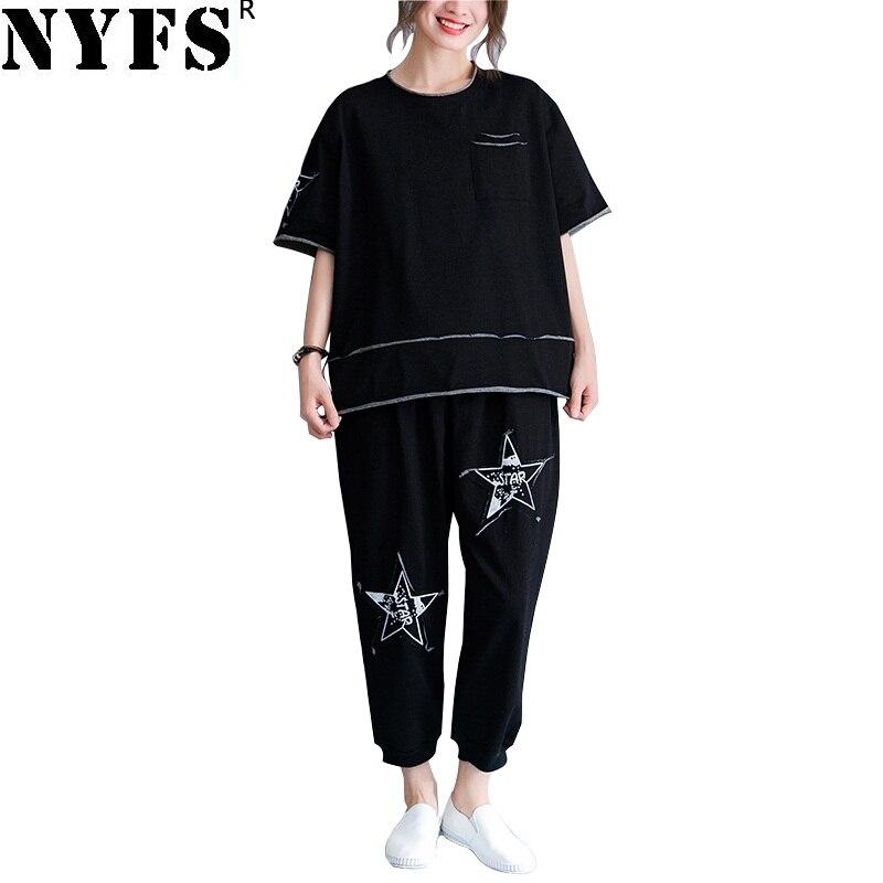 NYFS 2018 новый летний Для женщин костюмы свободные Для женщин комплект письмо ковбой Стикеры печатается пять звезд комплект из 2 частей Для жен...