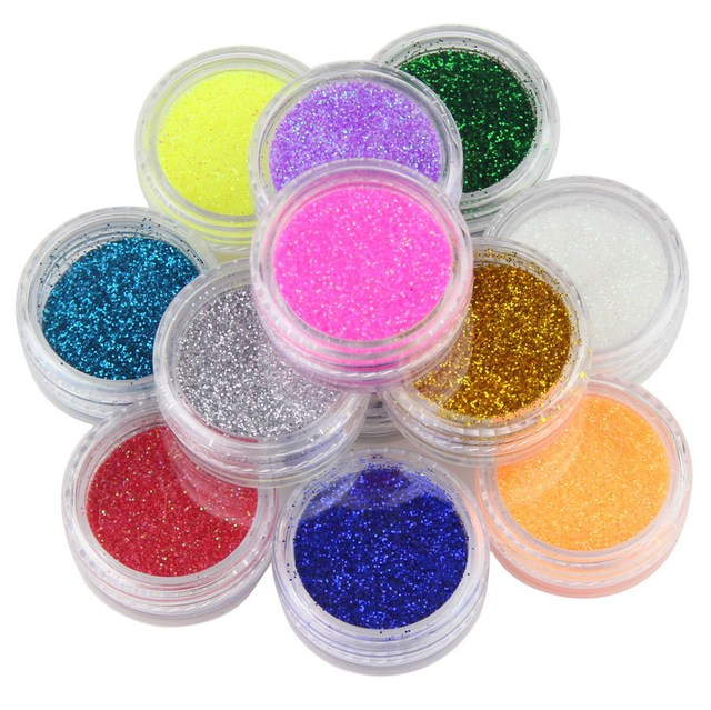 12 Colors Glitter Nail Art Dust Tool Kit Acrylic Gem Polish Nail Tools 3D Nail Art Decorations Nail Glitter Powder WY207