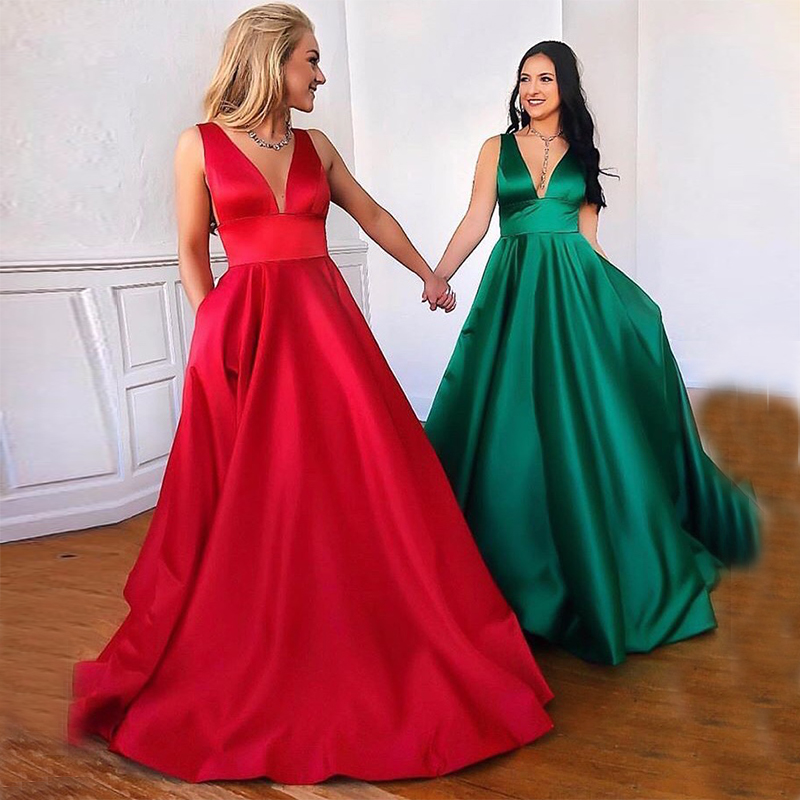 Cheap A-line Prom Dresses With Pocket V-neck Sleeveless Long Formal Party Dress Full Length Dark Green Red Vestido De Fiesta