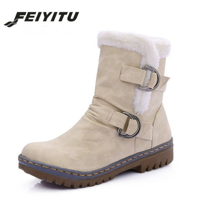 feiyitu Women Half Boots Winter Short Boot Warm Shoe Flat Botas Mujer Snow  Boots Buckle Fashion Round Toe Shoes Boots 48cae5205dff