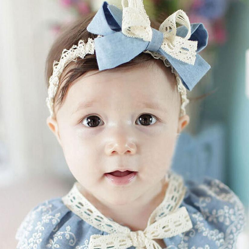 4 kinds fashion Sweet Girl Head Accessories Hairband Baby Bowknot Lace Headwear cabelo #15
