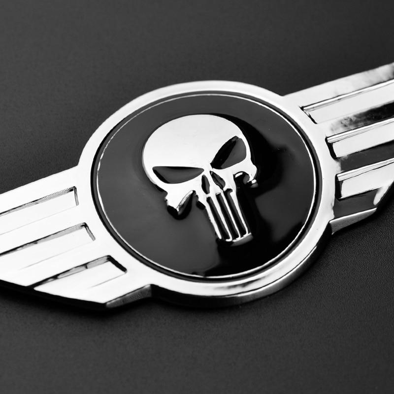 3 x 2.5 Mandalorian Skull Chrome Auto Emblem