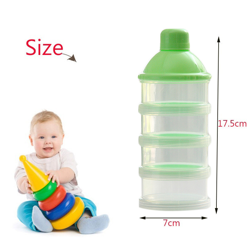 Portable Newborn Infant Milk Powder Container 4 Layers Moistureproof Baby Feeding Food Bottle Snacks Candy Storage Box Y
