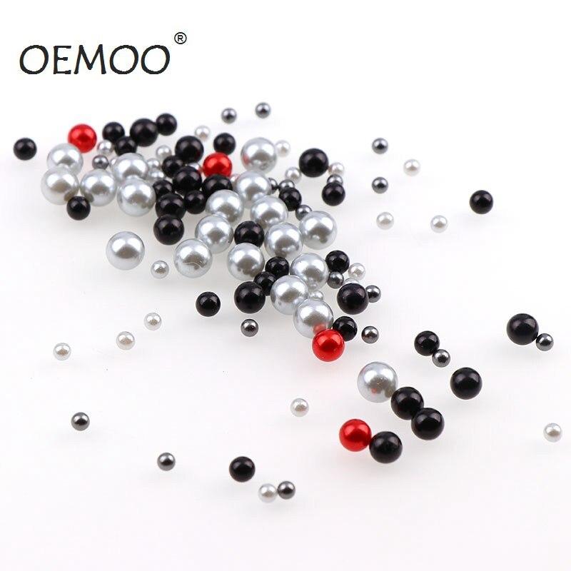 Mélange de tailles séries noires 3-6mm | Imitation de gommage sans trou, perles rondes pour bricolage, décoration dart des ongles