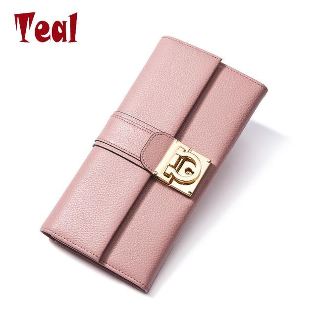 Женщины долго бумажник женщины кожаный кошелек высокого качества кошельки брендов женский деньги сумка из натуральной кожи кошелек для сотового телефон