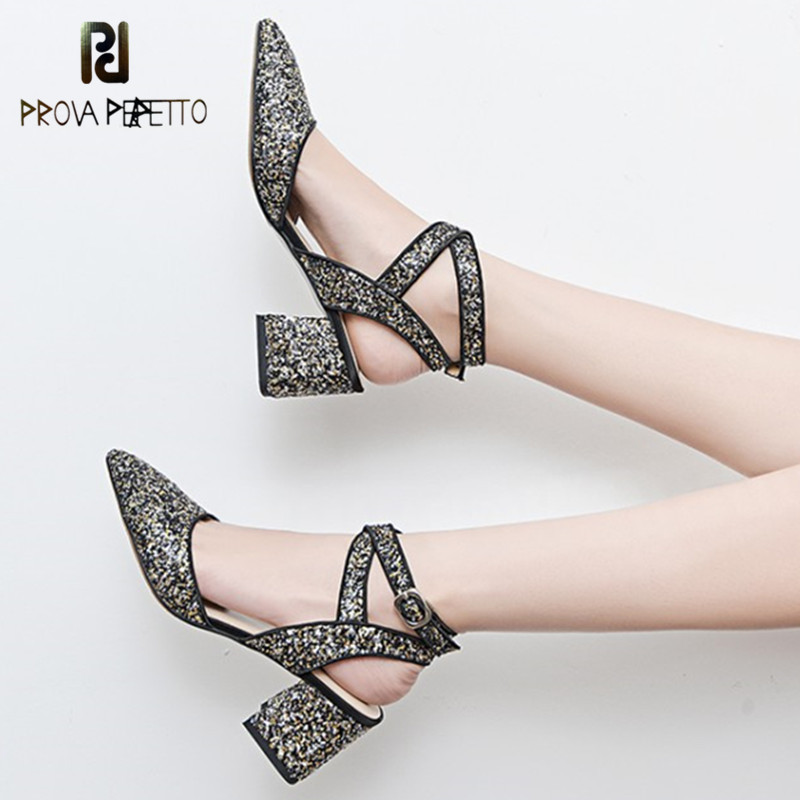 Prova Perfetto Sexy Bling Bling High Heels Sandals Ladies Ankle Strap Sandals Pointed-Toe High Heels Party Shoes Woman Sandals evchar new women shoes summer bling sandals ladies pointed toe high heels buckle ankle strap square heels shoes big size 31 46