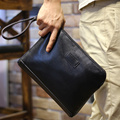 business men  soft leather casual vintage wrist day clutch handbag organizer checkbook envelop bag