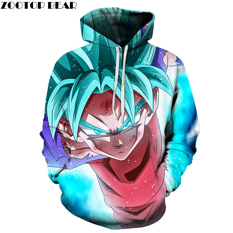 Turned Sweet Spring Hoodies 3D Print Men Pullovers Blue Dragon Ball Casual Anime Male Long Sleeves Cotton Drop Ship ZOOTOP BEAR
