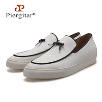 Piergitar brand 2019 Spring/Summer New Handcrafted white color canvas men sneakers Slip on men's casual shoes men loafers